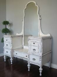 Bathroom Vanity With Stool Varnished Wooden Vanity Dressing Table With Rectangular Mirror And