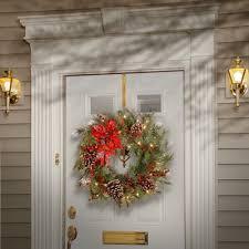 darby home co tewkesbury tartan plaid wreath with 50 white led