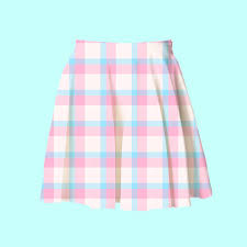 light blue skater skirt baby blue and pink plaid skater skirt 2xl 3xl kawaii pastel