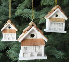 duncraft white cottage birdhouse ornaments set of 3