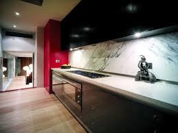 painted black kitchen cabinets black kitchen cabinets near red fridge decoration decosee com