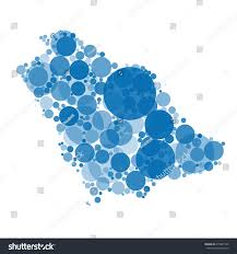 shades of color map saudi arabia filled circles different stock vector 679097749