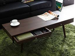 Small L Tables For Living Room Modern Center Table With 2 Drawers Walnut Finish Living Room