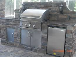 exterior inspiring grey outdoor kitchen barbeque design idea