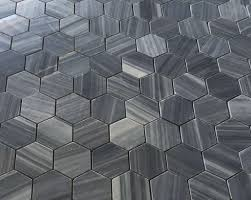 gray honed 2 hexagon marble mosaic floor and wall tile