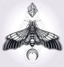 butterfly moth with moons and stones design