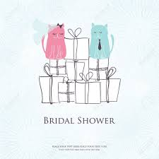 Bridal Shower Invitation Cards Bridal Shower Invitation Card With Two Cute Cats Sitting On The