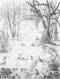 pencil sketch stanley park landscape sketch drawing waterfowl