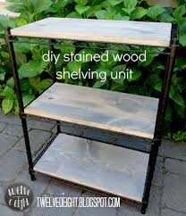 diy stained wood shelving unit laundry room progress twelveoeight