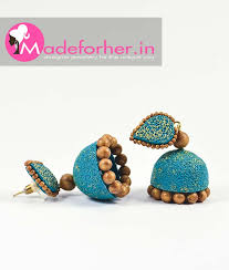 artificial earrings online buy blue polymer clay jhumka fashion jewellery online shopping