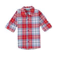 organic cotton woven checked boys single pocket sleeve shirt