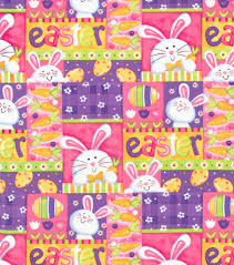 easter wrapping paper easter cotton fabric 44 bunny patchwork joann