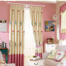 sweet pink beige house patterned polyester kids curtains