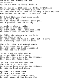 woody guthrie song house of the rising sun lyrics and chords