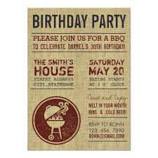 burlap birthday party bbq invitation card