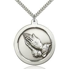 praying necklace sterling silver praying pendant the catholic company
