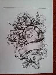 lovely roses and clock tattoos photos pictures and sketches