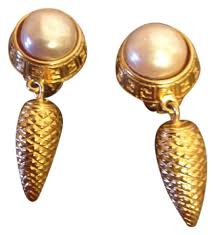clip on pearl earrings fendi vintage gold hanging clip on earrings tradesy
