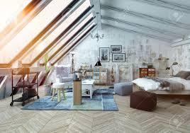 Schlafzimmer Holzboden Sonnenlicht Scheint In Schlafzimmer Moderne Hipster Loftstil