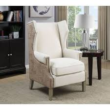 Nailhead Accent Chair Vintage Map Print Design Wing Back Accent Chair With Nailhead Trim