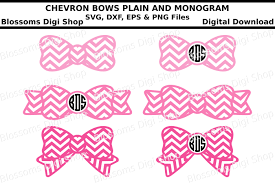 bow monogram chevron bow monogram svg eps dxf and png cut files by blossoms