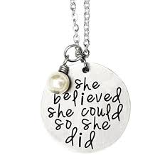inspirational necklaces oriya stainless steel she believed she could so she