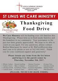 st linus we care ministry thanksgiving food drive st linus