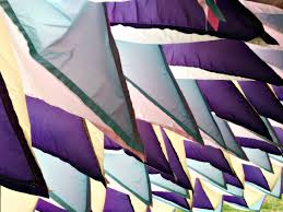 wind art colorful tent cathedral in french village billows peacefully in