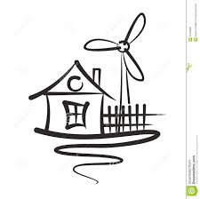 cottage sketch with wind power plant stock vector image 57949883