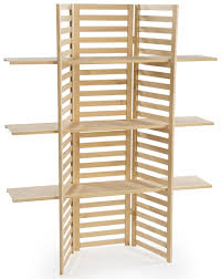wooden retail shelving unit w 3 shelves folding panels pine