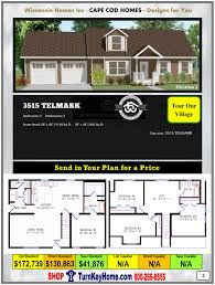 3515 telmark e2 wisconsin homes inc modular cape cod home plan price