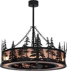 Tiffany Chandelier Meyda Tiffany 154987 Tall Pines Rustic Black Silver Mica Ceiling