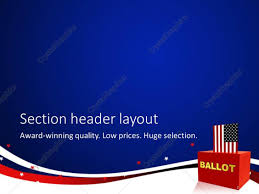 American Flag Header Powerpoint Template Vote Theme American Flag Inserting Into A Red