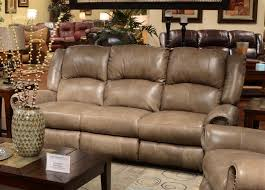 Brown Leather Recliner Sofas Livingston Leather Reclining Sofa With Drop Table By