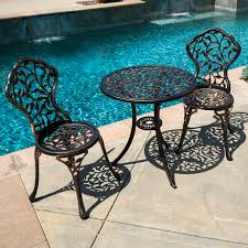 Vintage Patio Furniture - 3pc bistro set patio table chairs ivory furniture balcony pool
