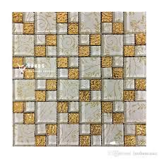 Gold Items Crystal Glass Mosaic Tile Wall Backsplashes by 2018 Gold Foil Glass Mosaic Tile Glass Brick Livingroom Glass