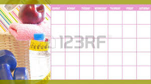 exercise and nutrition day by day calendar template stock photo