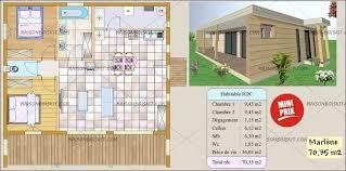 plan maison une chambre maison bois moderne 2 chambres terrasse et toit plat végétal