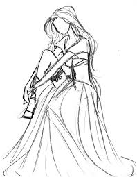 drawn wedding dress line drawing pencil and in color drawn