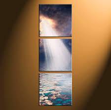 triptych nature scenery oil paintings orange canvas wall art