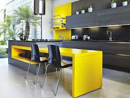 yellow and blue kitchens black ceramic backsplash white exposed