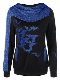 hoodies blue m halloween bat print space dye hoodie gamiss