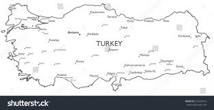 Map Turkey Vector Map Turkey Monochrome Contour Map Stock Vector 525631816
