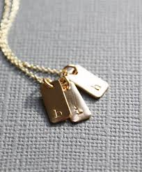 necklace with kids initials gold tiny bar tag 1 2 3 4 5 kids initials initial pendant