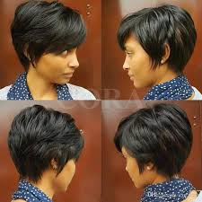 reat african american pixie layered short pixie cut human brazilian hair bob wig african