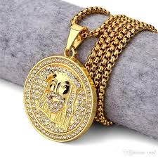 gold round necklace images Wholesale 2018 new golden round jesus head pendant necklace iced jpg