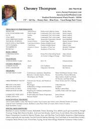 Sample Resume For Musician by Student Actor Resume Template Sample Theatre Acting Resume