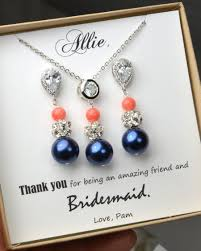 navy jewelry navy blue coral wedding jewelry bridesmaid gift bridesmaid