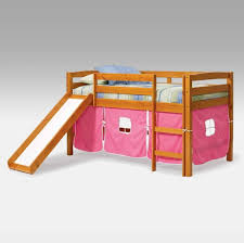 bedroom low height metal kids loft bed with navy blue slide and