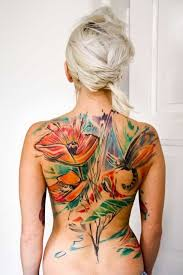 watercolor tattoo flower back